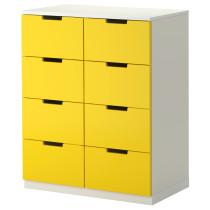 Комод с 8 ящиками НОРДЛИ желтый артикуль № 890.272.61 в наличии. Интернет каталог IKEA Минск. Недорогая доставка и соборка.
