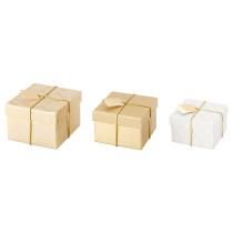 Коробка подарочная,3 штуки ВИНТЕР 2015 золотой артикуль № 103.032.47 в наличии. Онлайн магазин IKEA РБ. Недорогая доставка и монтаж.