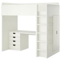 Кровать-чердак, 4 ящика, 2 дверцы СТУВА белый артикуль № 790.482.21 в наличии. Интернет магазин IKEA Минск. Недорогая доставка и установка.