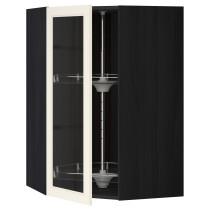 Угловой навесной шкаф с вращающающейся секцией, стеклянными дверцами МЕТОД черный артикуль № 190.555.49 в наличии. Интернет каталог IKEA Минск. Недорогая доставка и установка.
