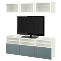 Шкаф для ТВ, комбинированный, стекляные дверцы БЕСТО белый артикуль № 191.965.68 в наличии. Интернет магазин ИКЕА РБ. Недорогая доставка и установка.
