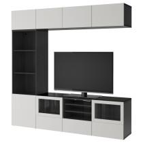 Шкаф для ТВ, комбинированный, стекляные дверцы БЕСТО черно-коричневый артикуль № 392.086.69 в наличии. Онлайн сайт ИКЕА Минск. Недорогая доставка и установка.