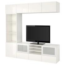 Шкаф для ТВ, комбинированный, стекляные дверцы БЕСТО белый артикуль № 591.949.92 в наличии. Онлайн сайт IKEA РБ. Быстрая доставка и монтаж.