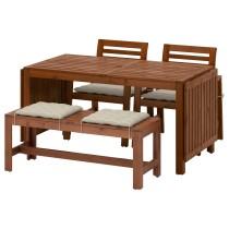 Стол + 2 кресла + скамья ЭПЛАРО коричневый артикуль № 592.289.30 в наличии. Online магазин IKEA РБ. Недорогая доставка и установка.