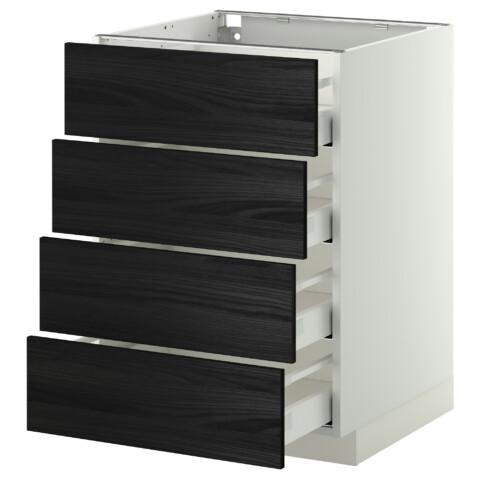 Напольный шкаф 4 фронтальных панели, 4 ящика МЕТОД / МАКСИМЕРА черный артикуль № 892.354.77 в наличии. Онлайн магазин IKEA Минск. Быстрая доставка и установка.