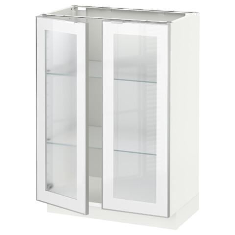 Напольный шкаф с 2 стекло дверцами МЕТОД белый артикуль № 292.384.07 в наличии. Online сайт IKEA Беларусь. Быстрая доставка и установка.
