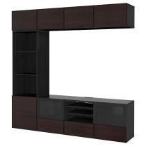 Шкаф для ТВ, комбинированный, стекляные дверцы БЕСТО черно-коричневый артикуль № 292.523.18 в наличии. Онлайн магазин IKEA Беларусь. Недорогая доставка и соборка.