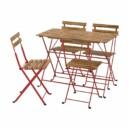Стол + 4 стула, для/сада, красный/светло-коричневая морилка IKEA TÄRNÖ ТЭРНО 893.936.31